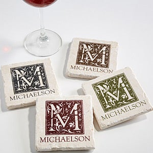 Personalized Tumbled Stone Drink Coasters - Floral Monogram - 13981