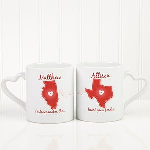 Personalized Coffee Mug Sets - Long Distance Love - 13993
