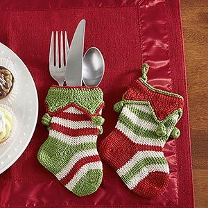 Mini Knit Christmas Stockings - Seasonal Stripes - 14015