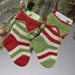 Christmas Stocking Ornaments - Seasonal Stripes - 14017