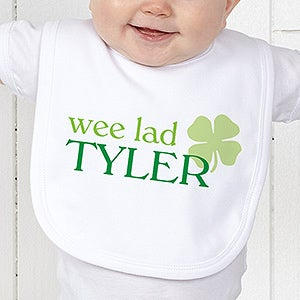 Personalized irish baby bibs born lucky four leaf clover irish born lucky personalized bib on sale today negle Gallery