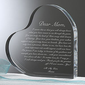 Personalized Heart Keepsake Gift for Mothers  Letter To Mom