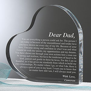 Personalized Heart Keepsake Gift for Fathers - Letter To Dad - 14066