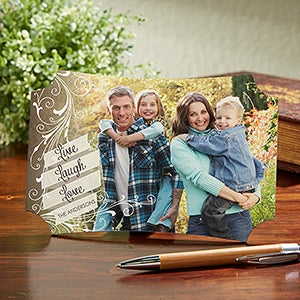 Personalized Photo Tabletop Plaque - Live, Laugh, Love - 14076