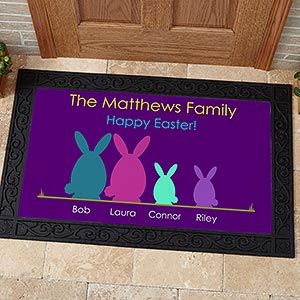 Personalized Easter Doormats - Easter Bunny Family - 14090