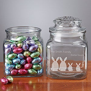 Personalized Easter Treat Jar - Easter Bunny Family - 14091