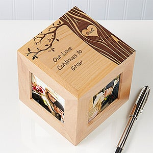 Personalized Romantic Photo Cube - Carved In Love - 14095