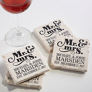 Personalized Stone Coaster Set - Mr & Mrs Wedding Coasters - 14102