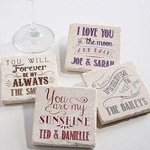 Personalized Stone Coaster Set Love Quotes