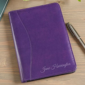 Personalized Leather Padfolio - Plum - 14130