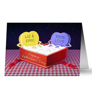 Personalized valentines day greeting cards candy heart hot tub hot tub candy heart personalized greeting card m4hsunfo