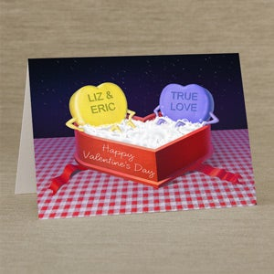 Personalized Valentine's Day Greeting Cards - Candy Heart Hot Tub - 14138