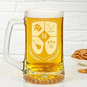 Personalized Beer Mugs - Initial Crest
