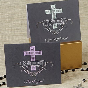 Personalized Cross Thank You Cards - Blessed Day - 14156