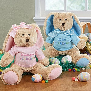 Personalized Stuffed Easter Bunny - Baby's First Easter - 14180