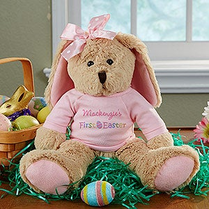 21c26fe8b1d5e Personalized Stuffed Easter Bunny - Baby s First Easter