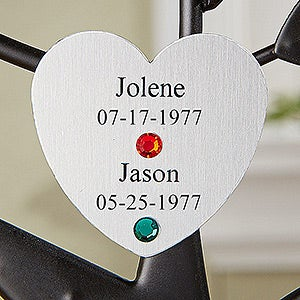 Personalized Birthstone Family Tree Silver Heart Disc - 14194D