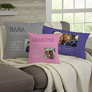 Personalized Photo Throw Pillow - Definition of a Grandma - 14228