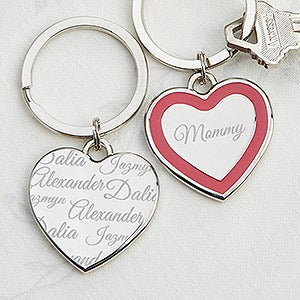Personalized Heart Key Ring - Loved By Mom - 14229