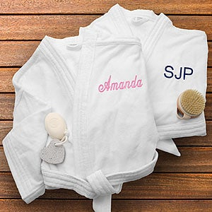 Personalization Mall Personalized Spa Bath Robes for Men and Women - White Velour at Sears.com