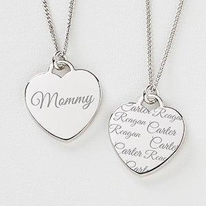 Engraved Heart Necklace - Love By Mom - 14243