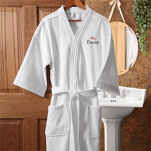 Embroidered Velour Spa Robe Set - His and Hers Design - 1427