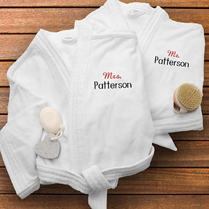 Personalized Velour Spa Robes - Mr and Mrs Collection - 1429