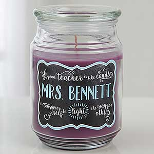 personalized candle jar teachers light the way