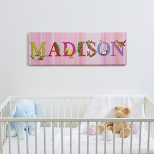 Personalized Kids Name Canvas Prints - Alphabet Animals - 14343