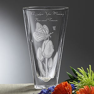 Personalized Crystal Vase - Springtime Moments - 14350