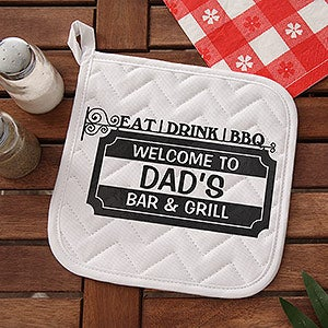 Personalized BBQ Aprons & Potholders - Eat, Drink, BBQ - 14375