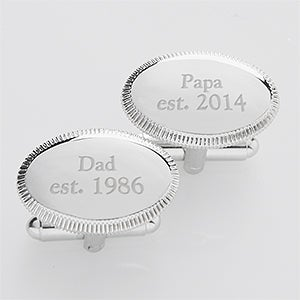 Personalized Silver Cuff Links - Date Established - 14380