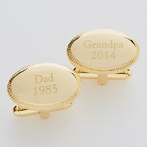 Personalized Gold Cuff Links - Date Established - 14381