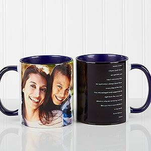 Photo Sentiments For Her Personalized Blue Coffee Mugs
