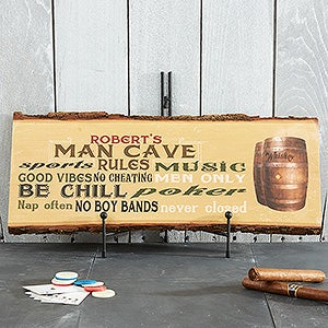 Personalized Man Cave Rules Plaque - Basswood Plank - 14399