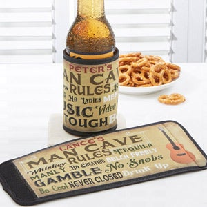 Personalized Man Cave Rules Can & Bottle Wrap - 14405