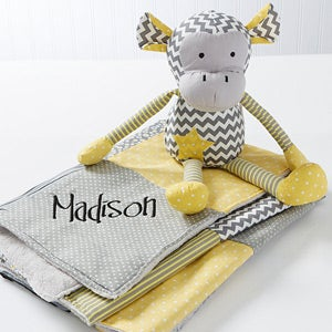 Personalized Patchwork Baby Blanket & Plush Monkey - 14416