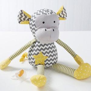 Personalized Patchwork Baby Blanket & Plush Monkey - 14416