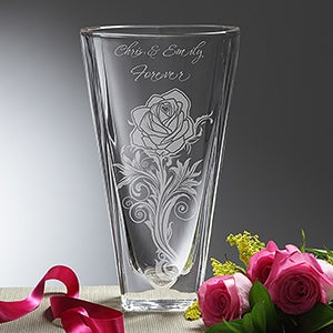 Personalized Etched Crystal Vase - Rose Romance - 14447
