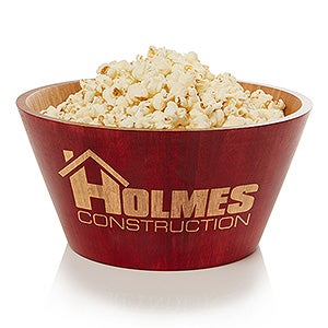 Personalized Logo Red Bamboo Serving Bowl - 14454