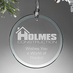 Personalized Corporate Logo Glass Round Ornament - 14459