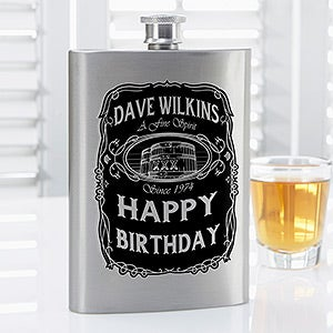 Personalized Drinking Flask - Whiskey Label - 14463