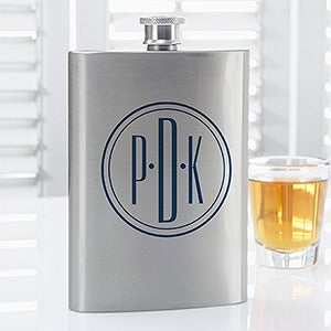 Personalized Drinking Flask - Distinguished Monogram - 14464