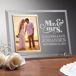 Personalized Glass Wedding Frames - Mr & Mrs - 14489