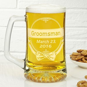 Personalized Groomsman Gift Beer Mugs - Cheers To The Groomsman - 14491
