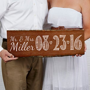 Personalized Wedding Date Sign - Rustic Basswood Plank - 14516