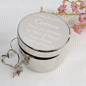 Personalized Bridesmaid Keepsake Jewelry Box - 14517