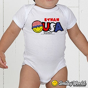 Personalized Patriotic Kids Clothes - USA Smiley Face - 14538