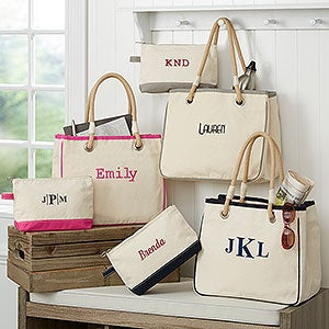Personalized Canvas Rope Tote Bag & Makeup Bag - 14555