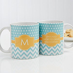 Personalized Coffee Mugs - Preppy Chic Chevron - 14559